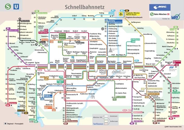 Mapa conjunto de líneas de metro (U-Bahn) y tren suburbano (S-Bahn) en Múnich