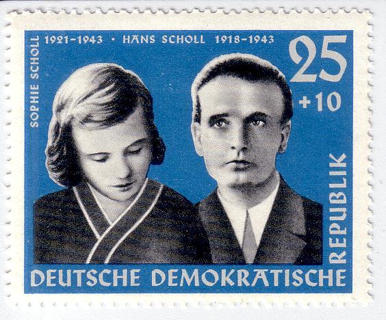 Sello en homenaje a los hermanos Scholl, editado por la antigua RDA
