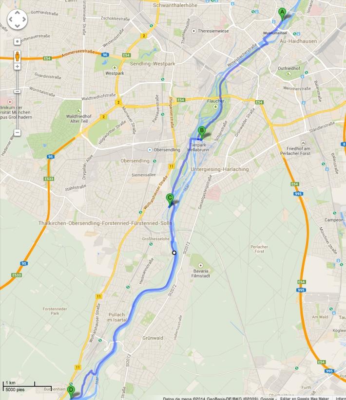 Mapa con algunos puntos para el baño en el Isar, a su paso por Múnich