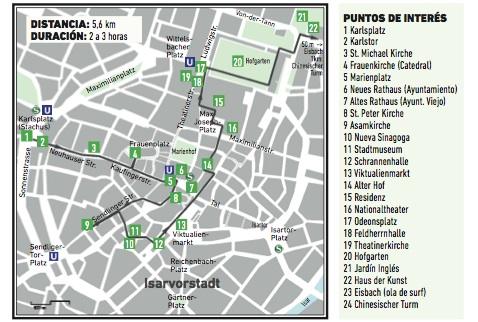 Ruta a pie propuesta en 'Múnich, una guía que nació muniqueando'. /WEB