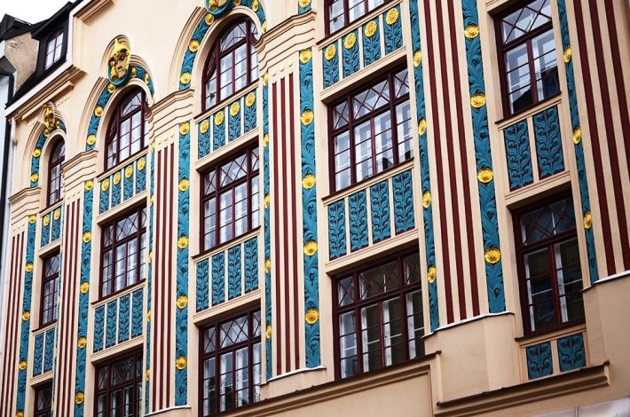 Detalle de fachada en Ainmillerstrasse, 22
