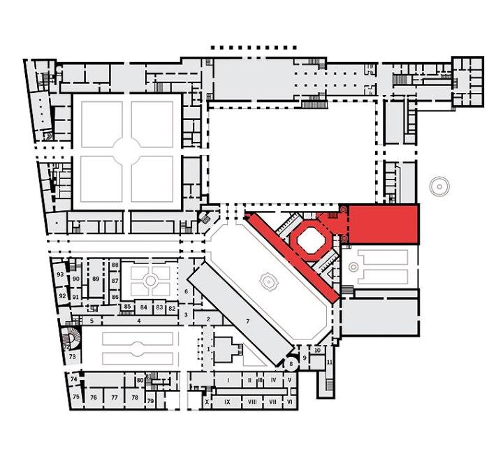 Plano del teatro, dentro del recinto de la Residencia. / BAYERISCHE SCHLÖSSERVERWALTUNG